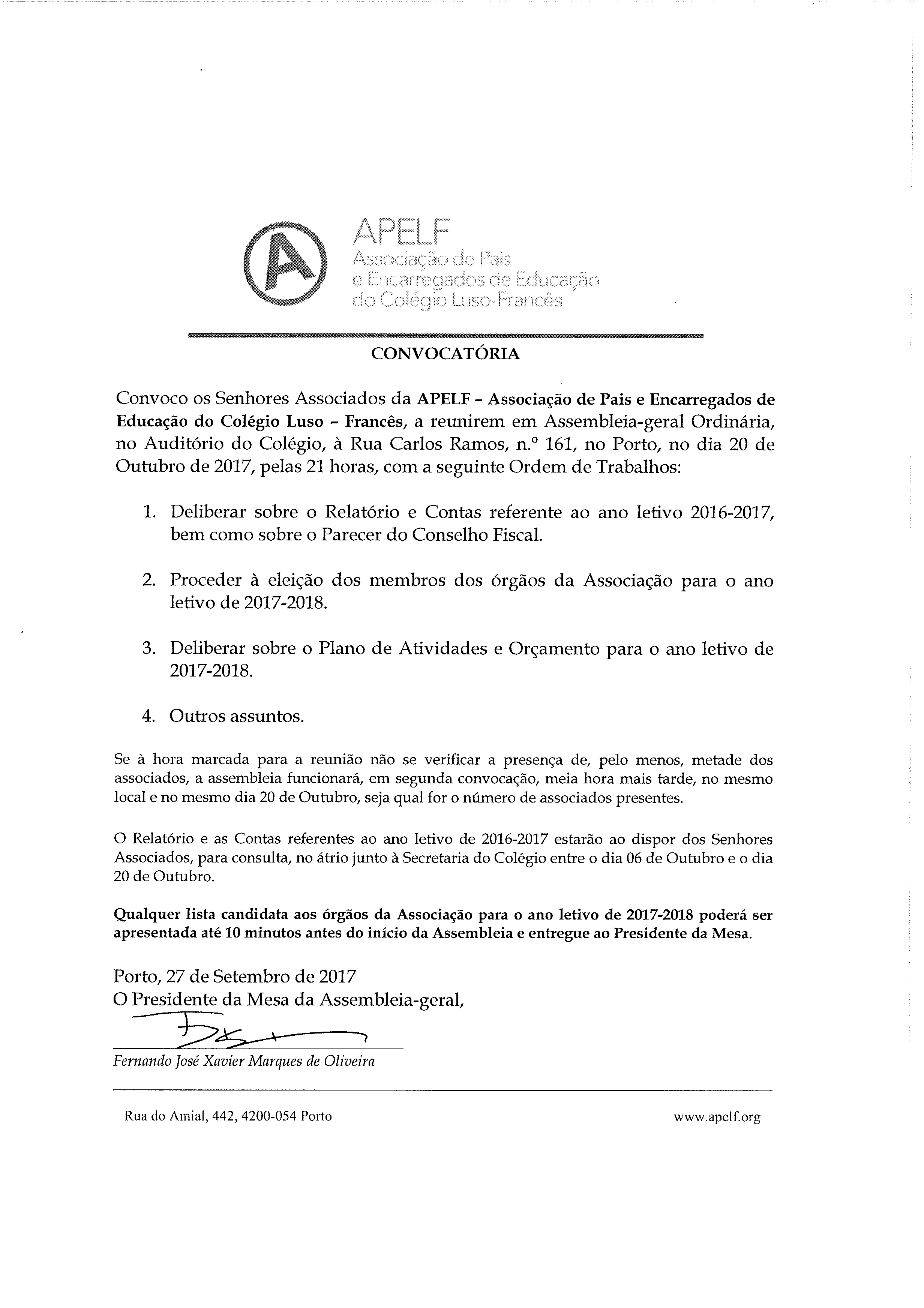 Convocatória de Assembleia Geral da APELF no CLF para o dia 20 de Outubro de 2017 pelas 21H00
